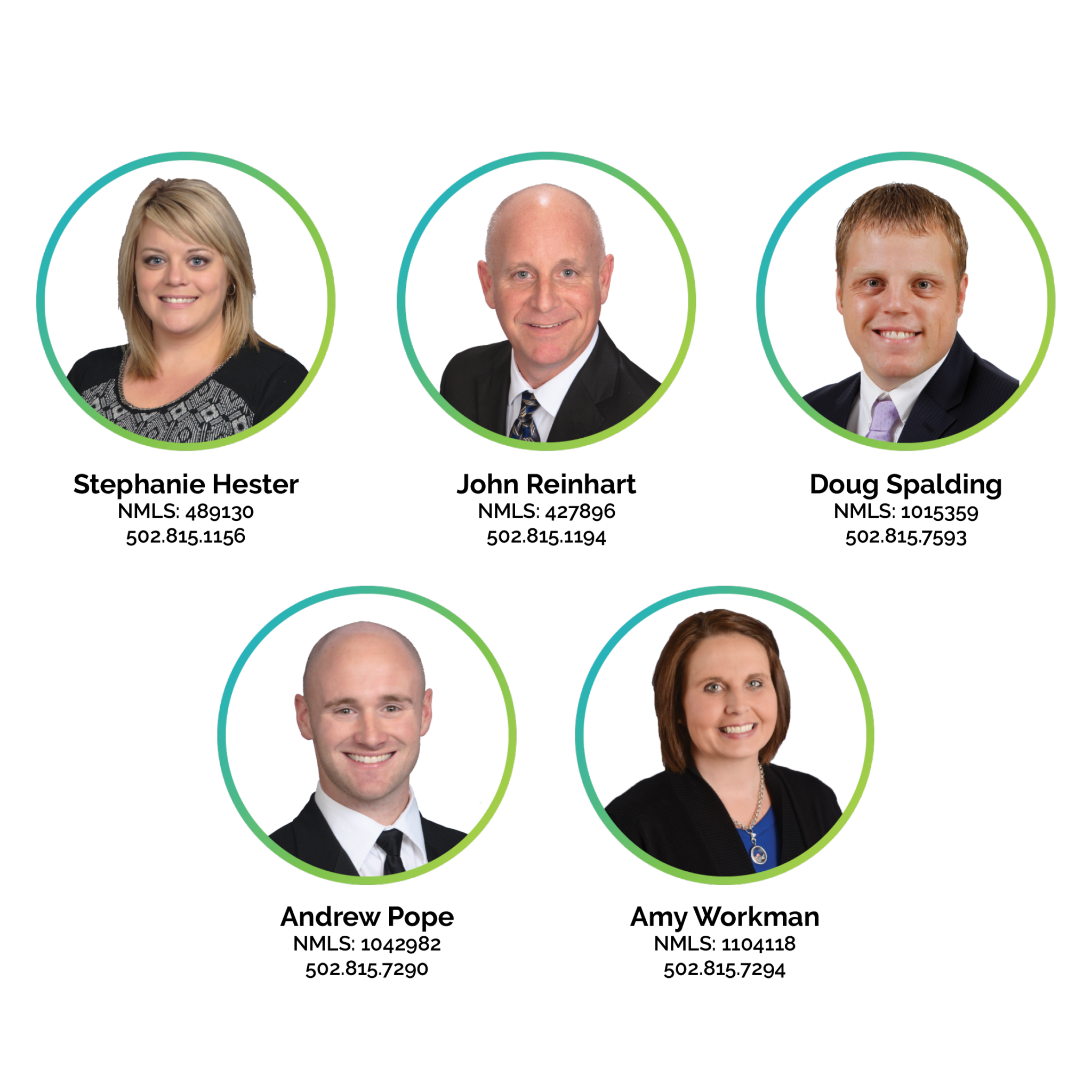 Mortgage loan officers headshots and phone numbers. Starting with Stephanie Hester; 502-815-1156. John Reinhart; 502-815-1194. Doug Spalding; 502-815-7593. Andrew Pope; 502-815-7290. Amy Workman; 502-815-7294.