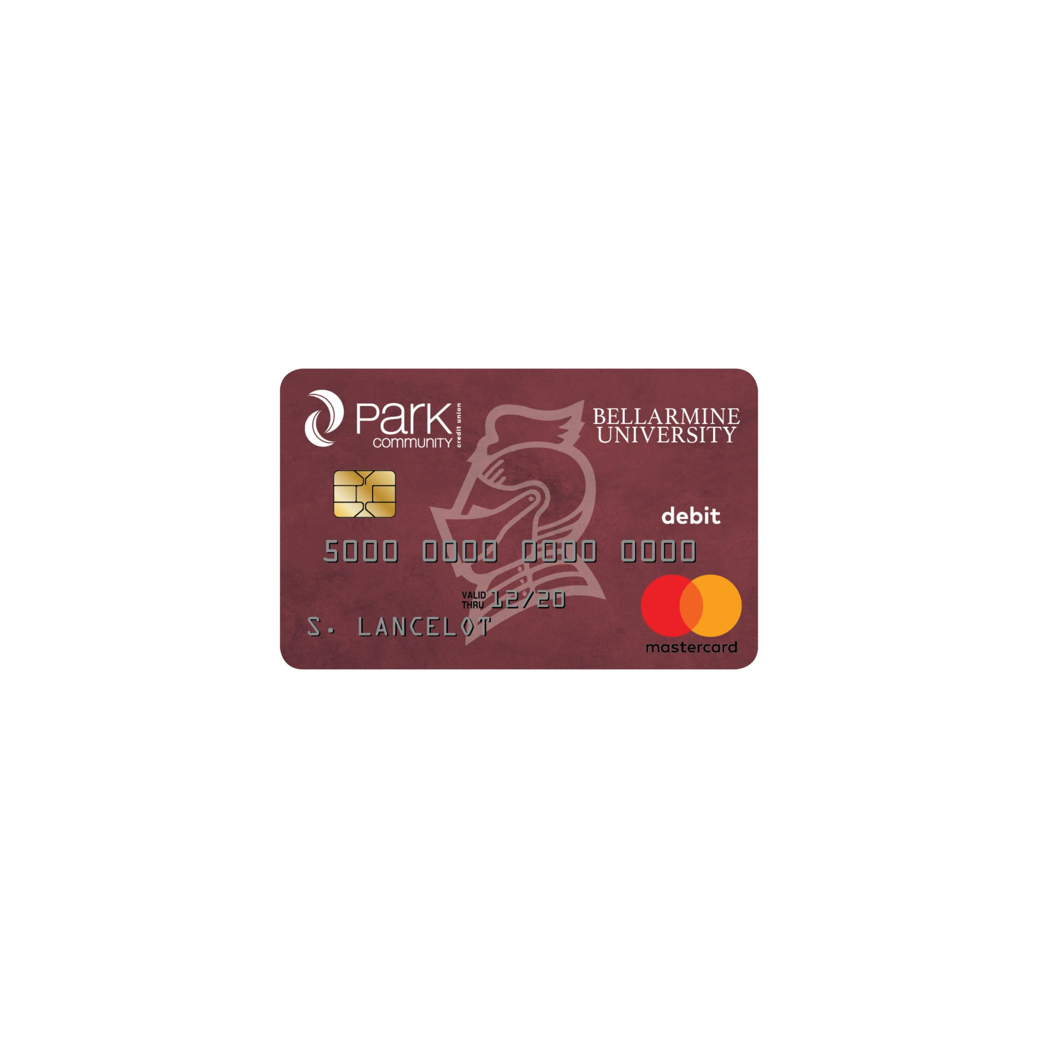 Illustration of cobranded Bellarmine university debit card design