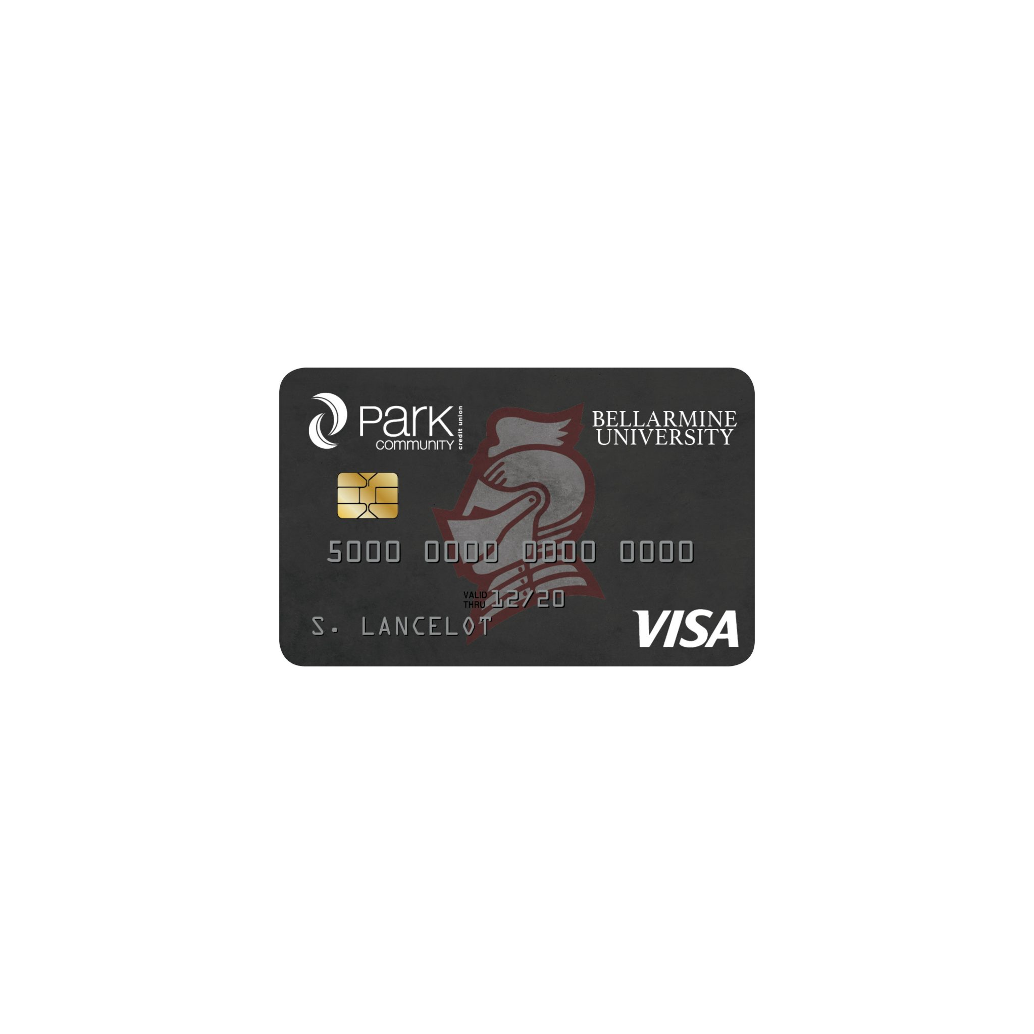 Illustration of cobranded Bellarmine university credit card design