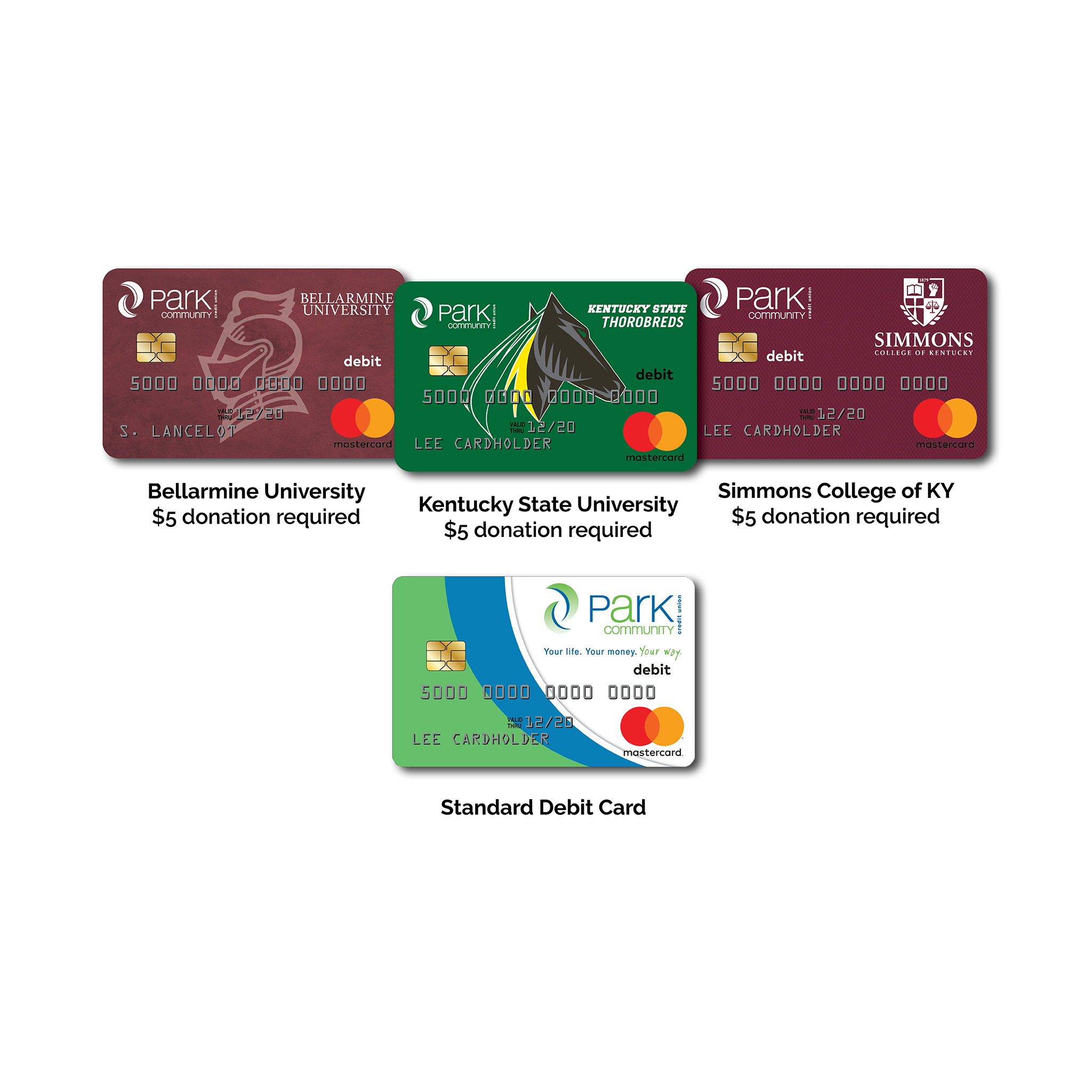 Photo of 4 debit cards with our different partner logos